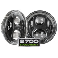 "JW Speaker Model 8700 Evolution J Black 7"" Round LED Headlights"